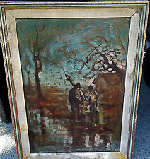 """Vintage Lino Casa Signed Oil Painting Landscape Gone Fishing/Stroll 24x18""""L.A,Ca"""