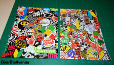 "x2 Sticker Bomb Pack Lot Wrap Sheets JDM 7.5"" x 10.5"" Inches Each  (x2Bomz)"