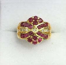 14K Solid Yellow Gold Cluster Flower Diamond Ring With  Natural Round Ruby,S7.75