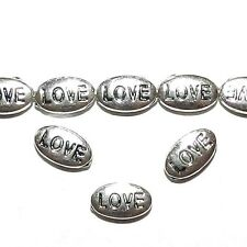 "MBX7116L2 Antiqued Silver ""Love"" Flat Oval 10mm Zinc Alloy Metal Beads 200/pkg"