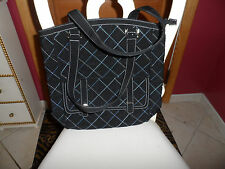 Vera Bradley large black microfiber tote with blue stitching