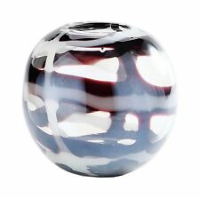 """New 6"""" Hand Blown Glass Art Vase Bowl Brown White Clear Decorative"""