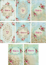Vintage inspired Thank You pink roses small note cards tags ATC set of 8