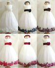 IVORY RED BLACK BROWN BURGUNDY ROSE PETALS PAGEANT WEDDING FLOWER GIRL DRESS