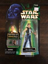 Star Wars POTF Comm Tech HAN SOLO with Blaster Hasbro 1999 Action Figure NIP
