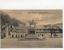 King Edward Statue Bombay India Vintage Postcard 213b