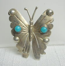 TAXCO Mexico Sterling Silver 925 Vintage BUTTERFLY Pin with TURQUOISE - Signed