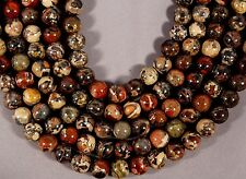 "TERRIFIC AFRICAN RED BRECCIATED JASPER 10MM ROUND BEADS 15.5"" STR RED GRAY GREEN"