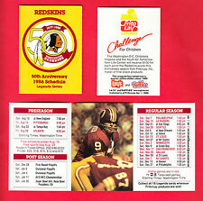 1986 Sonny Jurgensen Washington Redskins 50th Anniversary Frito Lay Schedule