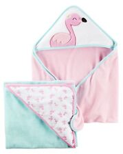 New Carter's Hooded Bath Towel Flamingo Terry Material NWT 2 Pack Towels