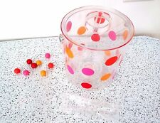 Acrylic Ice Buckets Ice Insert Lid & 8 Stir Sticks Tongs  Clear with Dots   New