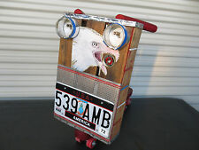 Childs Push Scooter Coca Cola Art Eagle License Plate 1972 Americana Toy