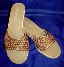 """COLDWATER CREEK Beige/Copper Beaded/Sequined 2.5"""" Wedge Heel Sandals (8) NEW"""