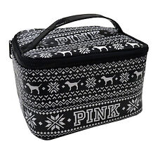 Victoria's Secret Travel Make Up Bag Train Case Pink Dog Logo Black White New Vs