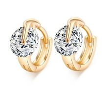 18K Yellow Gold Hoop Earrings Sparkling Austrian Crystal Classic Elegant Gift