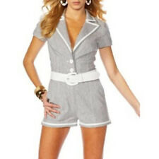 NWT BEBE LINEN STRETCH ROMPER SHORTS JUMPSUIT 8