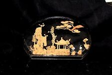 Vintage Asian Oriental Chinese Lacquer Diorama Large Cork Carving  Art Sculpture
