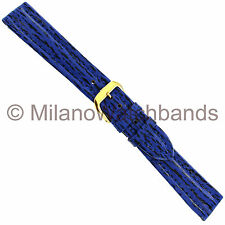 17mm Milano Genuine Leather Navy Blue Black Patterned Padded Stitched Watch Band