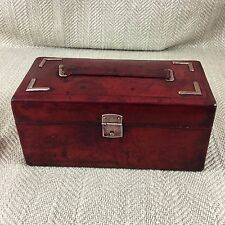 Antique Leather Box Jewelry Jewel 19th C Victorian Red ETUI NECESSAIRE Case