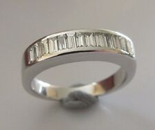 Secondhand 18ct white gold baguette diamond half band ring size I 1/2.