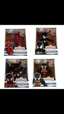 "Marvel 4"" Spider-Man Jada Die-Cast Metal Set. VENOM BLACK SUIT MILES CLASSIC 4x"