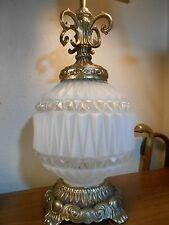 VTG Large Table Lamp Hollywood Regency Beautiful Frosted Glass W/ Brass trim