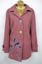 The Edinburgh Woolen Mill pink wool embellished boho coat UK 18