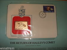 St Vincent FDC w/ 23 kt gold replica Stamp 1986 Return of Halley's Comet