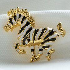 2015 Christmas Gift Handmade Streak Stripe Horse Brooch Pins Rhinestone Jewelry