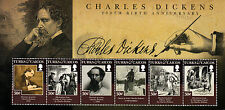 Turks & Caicos 2012 MNH Charles Dickens 200th Birth 6v M/S Literature Stamps
