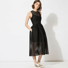 Sold Out MAJE Sheer Knitted Black Cocktail A-Line Dress with Flared Skirt Size 1