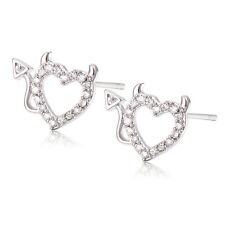 Hot Korean Charm Silver Plated Clear Crystal Hollow Heart Stud Earrings Promise