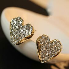 New Fashion Heart Love Gold Crystal Rhinestone Lady Women Stud Earrings Gifts