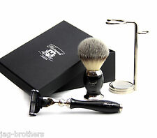Luxury hand-crafted Shaving brush Mach 3 Razor Steel Holder Gift Box