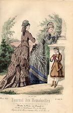 """42/ GRAVURE DE MODE """"  JOURNAL des DEMOISELLES """" 1876 SUPERBES COULEURS !"""