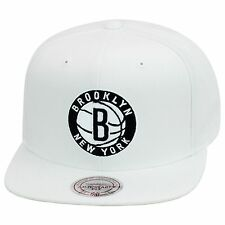 "Mitchell & Ness Brooklyn Nets Snapback Hat All WHITE/Circled ""B"" & LETTER"