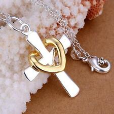 Fashion 925 Sterling Silver Charm cross heart Beautiful Lady women Necklace
