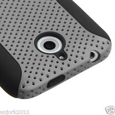 HTC Desire 510 Hybrid Mesh Case Perforated Skin Cover Grey Black