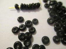 100 Black  Tiny 5 x 2 mm   Glass  Spacer  Beads   TBB