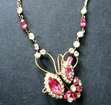 BEAUTIFUL VINTAGE GOLD FILL NECKLACE PINK RHINESTONES LAVALIER DESIGN OLDIE