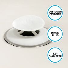 "Recyclable Snug Plug Drain Stopper (1.5"" Drain Hole) in White by SlipX Solutions"