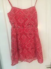 Brand New Red Patterned Summer Dress, H&M, Size 12