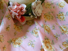 Antique 1930's Mustard Yellow Cottage Roses on Blush Pink Cotton Fabric~