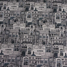 Black and White London Print Linen Blend Fabric (Per Metre)
