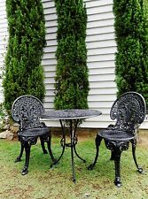 3 PIECE HEAVY CAST IRON SATIN BLACK VINTAGE OUTDOOR SETTING  PERFECT CONDITION!