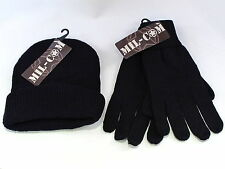 Mil-com bob chapeau & glove set black one size fits all pêche chasse jeu
