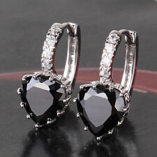 18 kt white gold Heart  Cut lever back Black  Diamond Earrings 3  CT