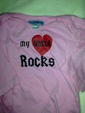 """Shu-Shi-Shop.Com Girls Sz. 12 Month Pink Tee. """" My Uncle Rocks"""" Great Shape"""