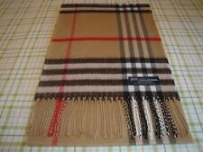 100% Cashmere Scarf Camel Black BIG NOVA CHECK TARTAN Plaid Scotland WOOL A55
