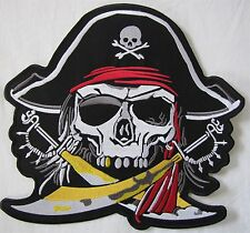 Rare Large Skeleton Head Pirate Motorcycle Biker Embroidered Sew Badge Patch